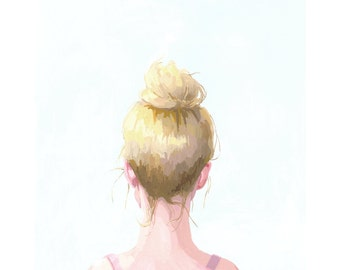 "8x10"" hair art - bun print - ""Top Knot 30"""