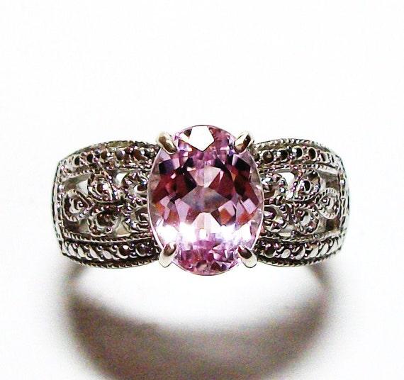 """Pink kunzite ring, kunzite ring, wedding ring, engagement ring, solitaire ring, pink  s 6   """"Lavish Pink"""""""
