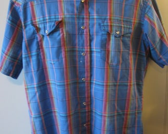 Vtg WESTERN SHIRT Wrangler Pearl Snaps Blue Plaid Rockabilly Cowboy-Men's XL