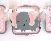 elephant baby shower banner, pink chevron, its a girl banner, pink, white and grey