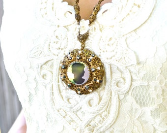 Victorian Mirror Cameo Necklace Vintage Post WWII Era 1940s 1950s Western Germany Ornate Gold Filigree Faceted Grey Glass Faux Pearl Jewelry