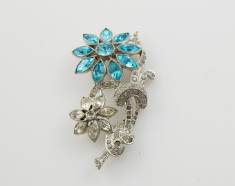 Vintage Blue and Faux Diamond Gemstone Brooch