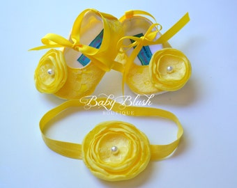 Yellow Lace Baby Ballerina Slippers with Matching Headband