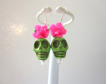 Sugar Skull Earrings Green Hot Pink Rose Flower Day Of The Dead Jewelry