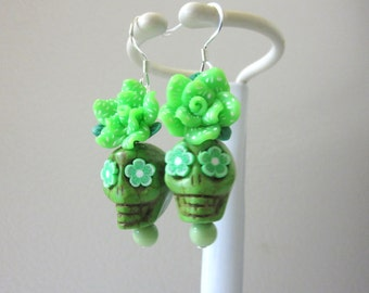 Sugar Skull Earrings Lime Green Rose Flower Day Of The Dead Jewelry