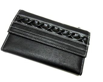 Black Wallet Braid Billfold Checkbook