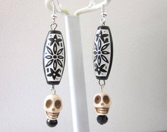 White Skull Earrings Black Day of the Dead Jewelry