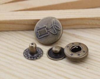 10sets antique bronze Snap button S48 (requries 633 tool)