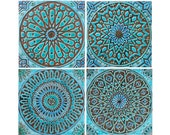 4 Moroccan wall hangings // Ceramic tiles // Wall decor // Wall art // Moroccan // 30cm // Turquoise