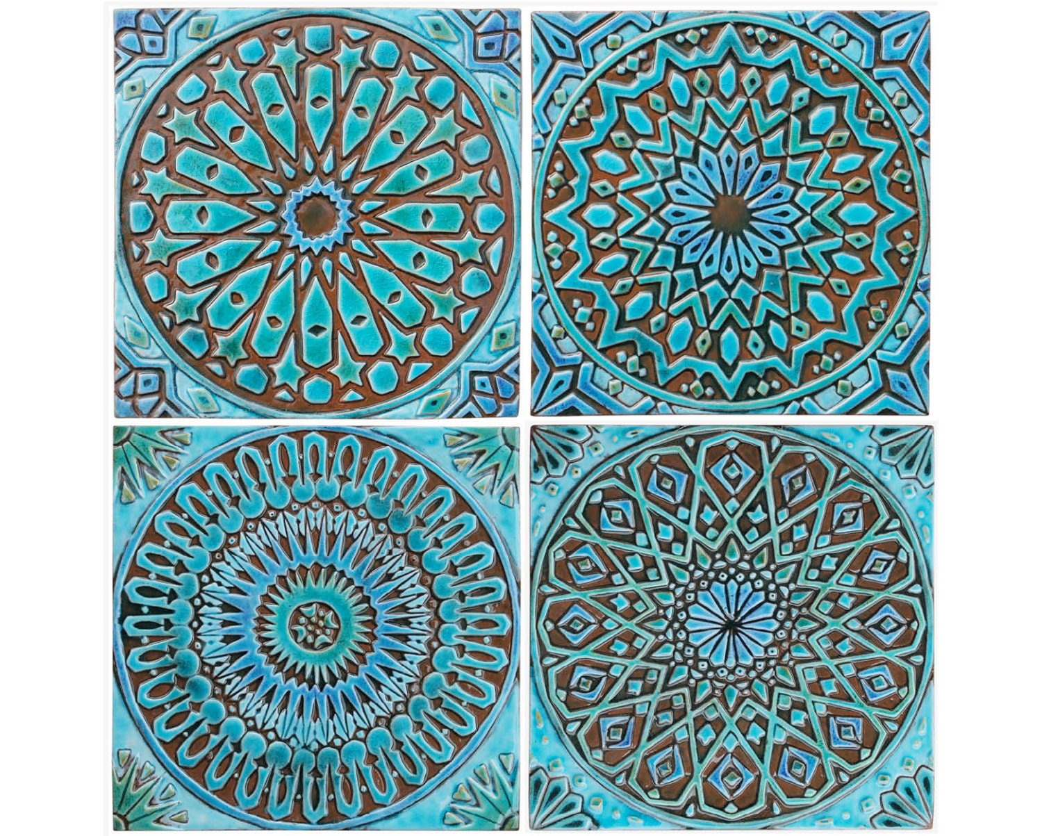 4 Moroccan Wall Hangings Ceramic Tiles Wall Decor