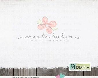 Photography Logo - hand drawn flower floral logo - florist logo - premade logo design for photographer logo branding logo  Bespoke Logo