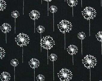 Black Dandelion Fields Laminated Canvas Fabric 1 yd