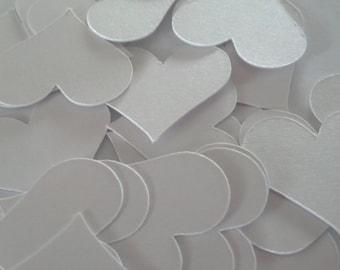 50 Pearl White Heart Die Cuts Confetti 1 inch