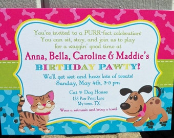 Cat and Dog Invitation Printable or Printed with FREE SHIPPING - Kitty and Puppy - Meow, Sit Stay and Play Collection