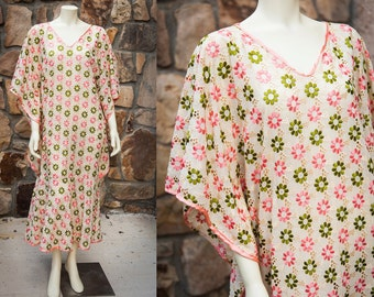 60s Flower Power Embroidered Fishtail Mermaid Maxi Dress ONE SIZE