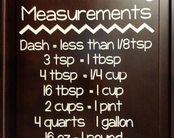 Common Cooking and Baking Measurements Wall Vinyl in your choice of size and color