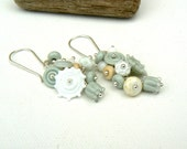 White and Pale Blue Sea Inspired Lampwork and Sterling Silver Earrings.OOAK