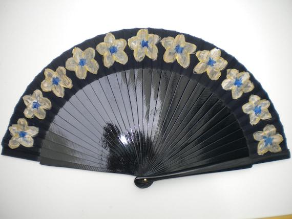 Navy and Gold Flowers Wooden Fabric Hand Fan SIZE OPTIONS Handheld Folding Flamenco Dance Fan by Kate Dengra Spain