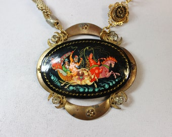 Troika Fantasy- Antique Russian Handpainted Lacquer Pendant with Victorian Rhinestone Buckle- One of a Kind Necklace
