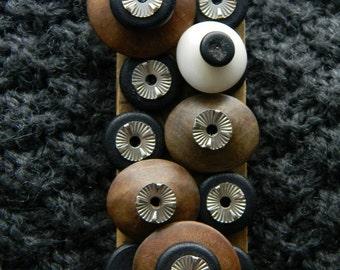 Art Brooch - Brown/Black Mix - Found Object Jewelry by Jen Hardwick