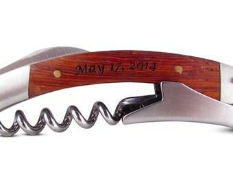 Rosewood Wine Opener with 3 tools - engraved wedding favor, groomsman gift, anniversary present