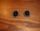 vintage clip on earrings silvertone lucite