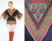 Vintage - Boho Hippie - Red & Black - Tribal - Ethnic Floral - Angel Sleeve - Dashiki - Tunic - Top