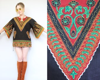 Vintage - Boho Hippie - Red & Black - Tribal - Ethnic Floral - Angel Sleeve - Dashiki - Tunic - Top - Festival