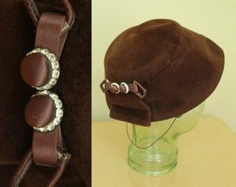 Vintage - 50s 60s - Brown Wool - Wide Brim - Rhinestone Button - Saucer Hat - Evening