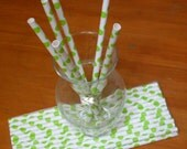 75 lime green polka dot paper drinking straws - for baby or bridal showers - mason jar drinks - cupcake topper or cake marshmallow pops