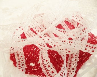 Vintage White Cotton Lace with Three Rows of Design 187 inches