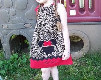 Safari Minnie Mouse Pillowcase Dress, Cheetah Print, Leopard, Personalized Dress, Minnie Mouse Dress, Disney Inspired, Size 6 mos to 14