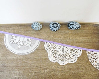 Violet Bunting Vintage Doilies Bridal Wedding Upcycled Wall Hangings Cream White Purple Lilac Mauve Crochet Shabby Chic Repurposed