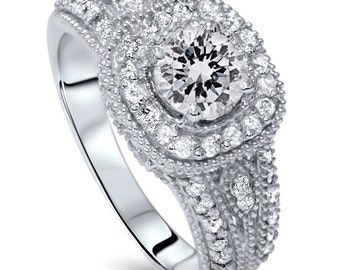 Vintage Diamond Engagement Ring SI 1.33Ct Vintage Diamond Engagement Ring 14K White Gold 3/4CT Center) Round Brilliant Cut Size 4-9
