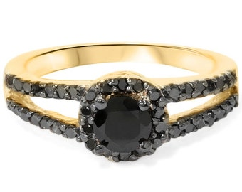 1.00CT Black Diamond Split Shank Halo Engagement Ring 14K Yellow Gold Size, Open Split Shank, Unique Black Diamond Ring, 14k Yellow Gold