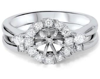 Diamond .45CT Halo Engagement Setting Set 14K White Gold
