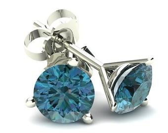 1/4CT Round Brilliant Cut Blue Diamond Stud Earrings In 14K Gold