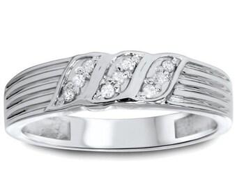 Mens .10CT Diamond Ring 10K White Gold
