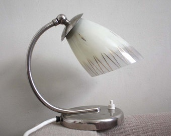 Midcentury Vintage Fifties Table Lamp /Wall Sconce. White Glass Lampshade, Chrome Metal Base.