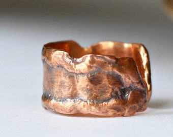 Melted Copper Ring Hammered Molten Band Ring
