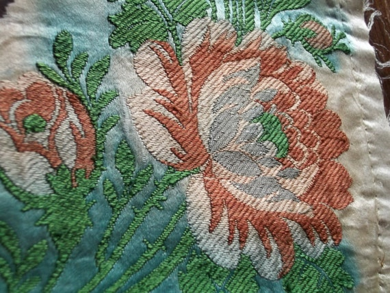 Sale Two Large Antique Silk Damask Pieces From Lyon 1800s