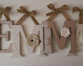 Wooden  letters for nursery in  burlap and lace