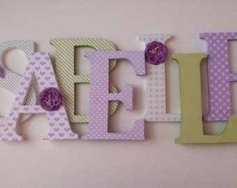 Wooden  letters for nursery in lavender and green