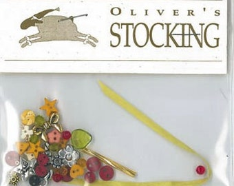 Oliver's Stocking embellishment pack ONLY : Shepherd's Bush Christmas new baby counted hand embroidery thecottageneedle
