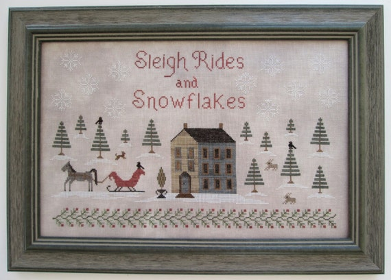 Sleigh Ridges and Snowflakes : counted cross stitch patterns Scarlett House Christmas embroidery