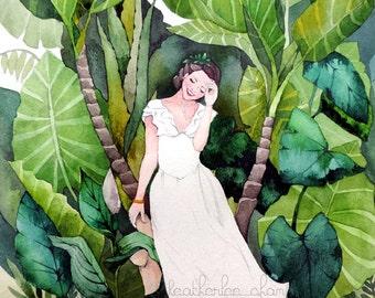 Tropical Girl - Watercolor Art - Painting Print