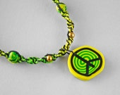 Peace Hemp Necklace: Neon Green, Yellow Polymer Clay Peace Sign, Dyed Hemp Cord