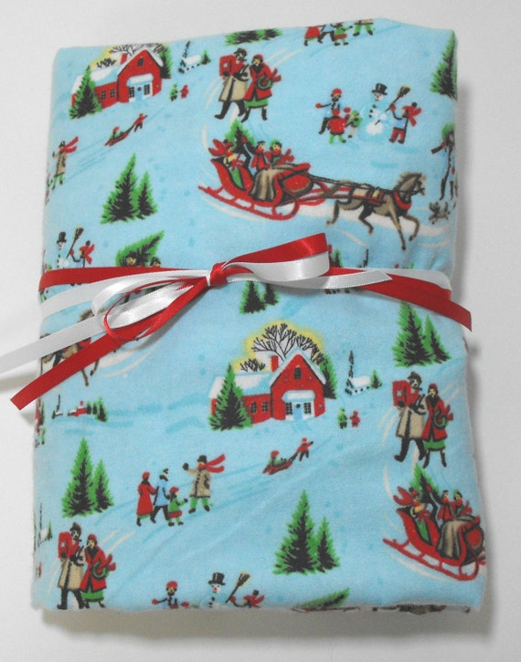 Flannel Fitted Sheet Christmas Scene Baby Or Toddler Bedding