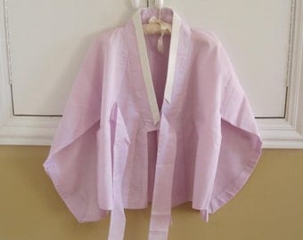 Asian Inspired Jacket HANDMADE, Lavender, Loose Bedjacket Lightweight