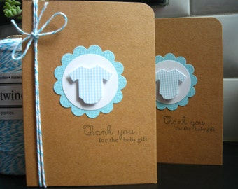Baby Gift Thank You Cards Set of 6, Blue, Baby Shower Cards